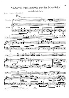 Aria, Gavotte and Bourrée: Version for cello and piano by Johann Sebastian Bach