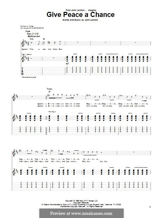 Give Peace a Chance: For guitar with tab by John Lennon, Paul McCartney