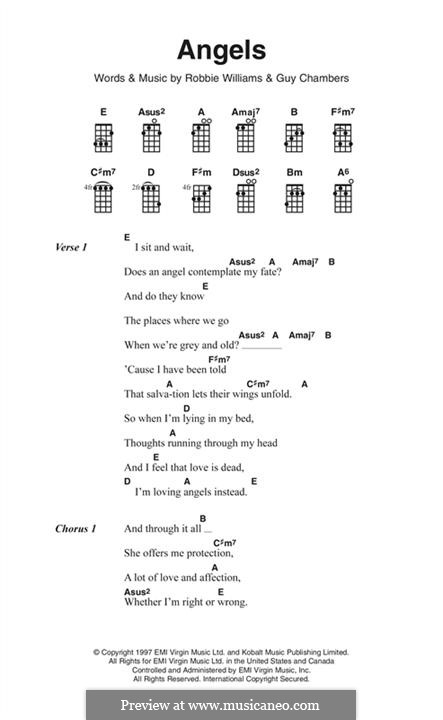 Angels: Lyrics and chords by Guy Chambers, Robbie Williams