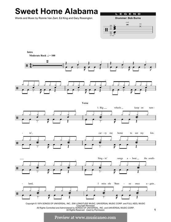 Sweet Home Alabama (Lynyrd Skynyrd): Drum set by Ed King, Gary Rossington, Ronnie Van Zant