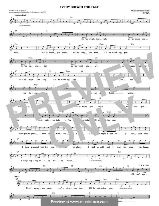 Every Breath You Take (The Police) by Sting - sheet music on MusicaNeo