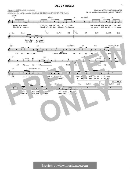 All By Myself: Lyrics and chords by Eric Carmen