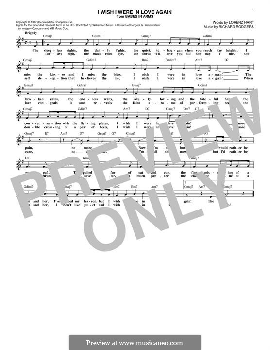 I Wish I Were in Love Again: Lyrics and chords by Richard Rodgers
