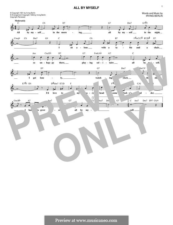 All By Myself: Lyrics and chords by Irving Berlin