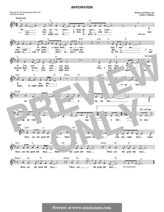 Anticipation: Lyrics and chords by Carly Simon