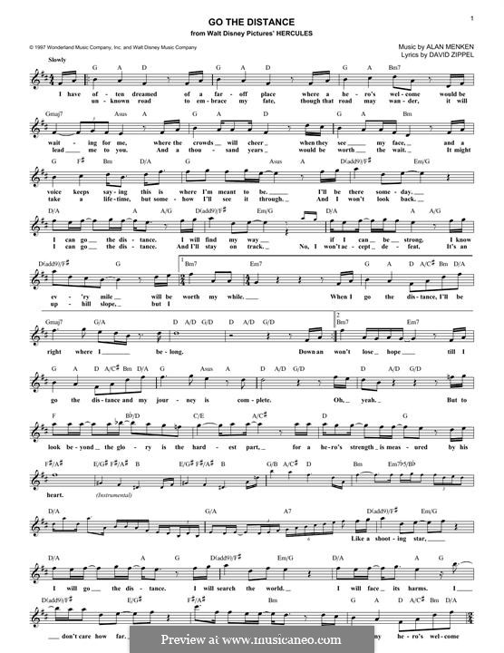 Go The Distance From Hercules By A Menken Sheet Music On Musicaneo