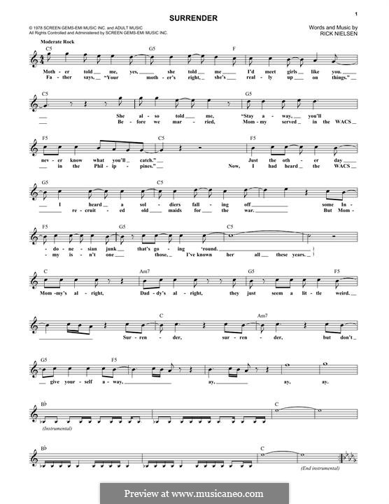 Surrender (Cheap Trick) by R. Nielsen - sheet music on MusicaNeo
