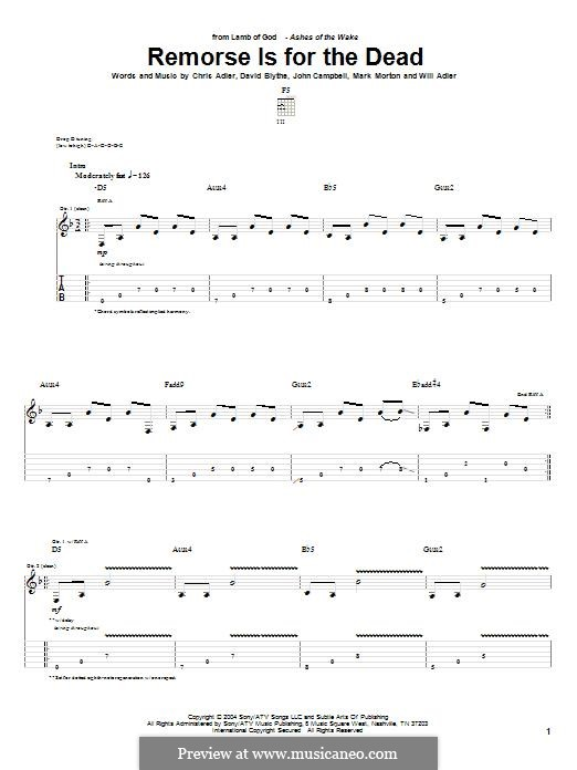 Remorse is for the Dead (Lamb of God): For guitar with tab by Chris Adler, David Blythe, John Campbell, Mark Morton, Will Adler