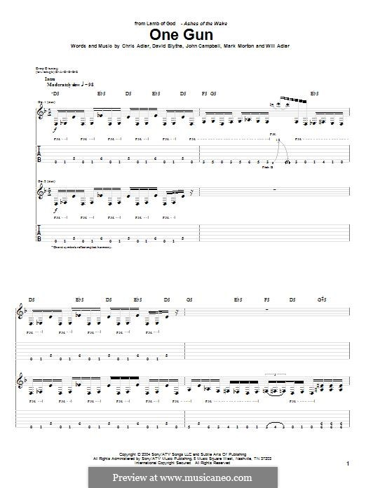 One Gun (Lamb of God): For guitar with tab by Chris Adler, David Blythe, John Campbell, Mark Morton, Will Adler