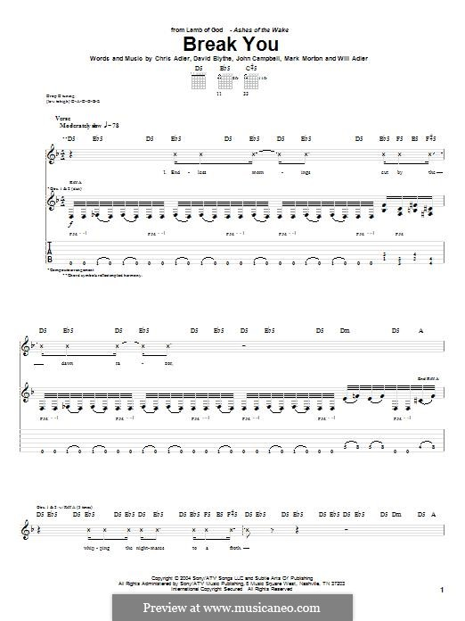Break You (Lamb of God): For guitar with tab by Chris Adler, David Blythe, John Campbell, Mark Morton, Will Adler