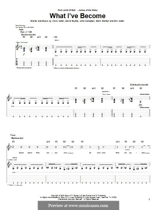 What I've Become (Lamb of God): For guitar with tab by Chris Adler, David Blythe, John Campbell, Mark Morton, Will Adler