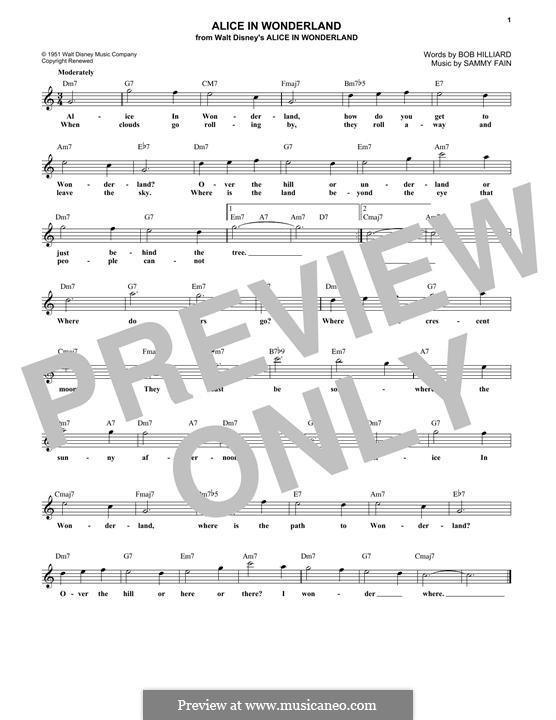 Alice in Wonderland (Bill Evans): Lyrics and chords by Bob Hilliard, Sammy Fain