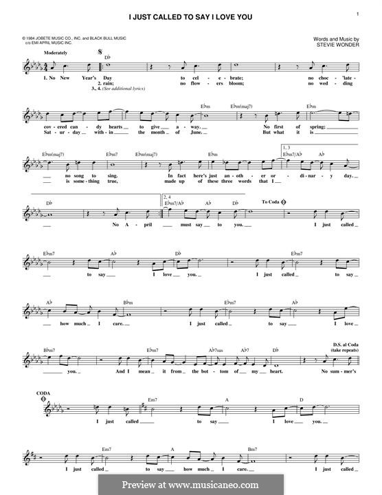 I Just Called To Say I Love You By S Wonder Sheet Music On Musicaneo