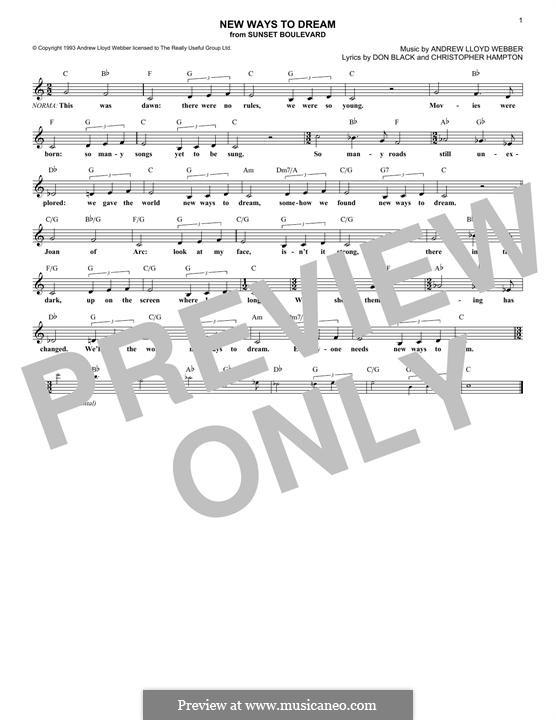 New Ways To Dream: Lyrics and chords by Andrew Lloyd Webber