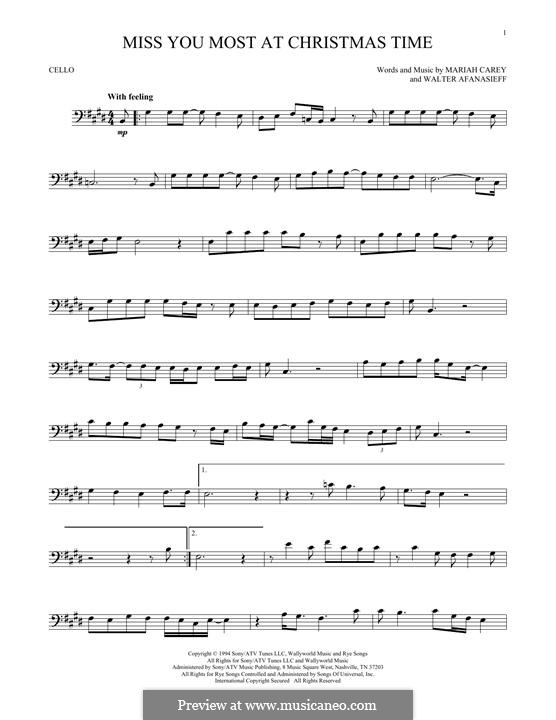 Miss You Most at Christmas Time (Mariah Carey): For cello by Walter Afanasieff