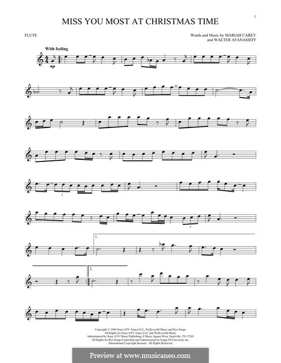 Miss You Most at Christmas Time (Mariah Carey): For flute by Walter Afanasieff