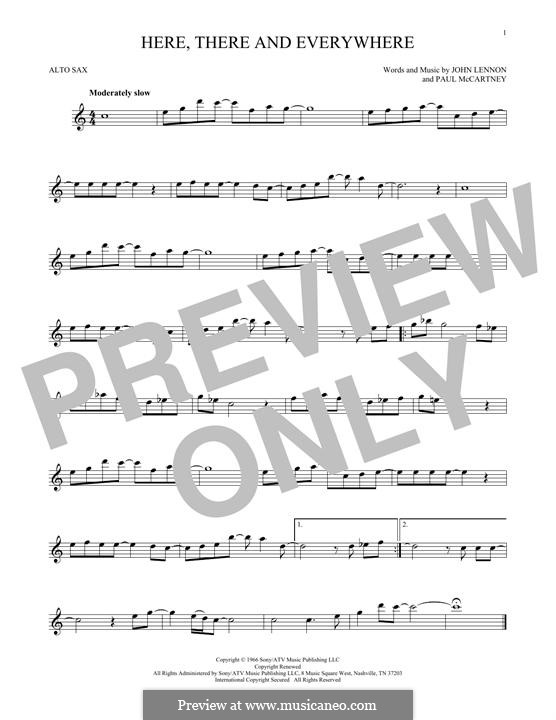 Here, There and Everywhere (The Beatles): For alto saxophone by John Lennon, Paul McCartney