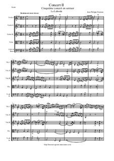 6 Concerts Transcrits en Sextuor: Concert en sextuor No.2 - score, parts by Jean-Philippe Rameau