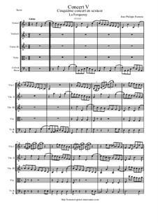 6 Concerts Transcrits en Sextuor: Concert en sextuor No.5 - score, parts by Jean-Philippe Rameau