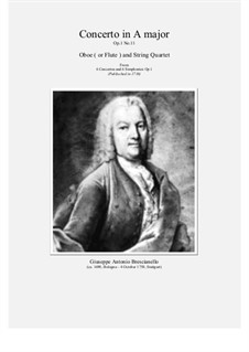 12 concerti e sinphonie, Op.1: Concerto No.11 in A major for oboe (or flute) and string quartet by Giuseppe Antonio Brescianello