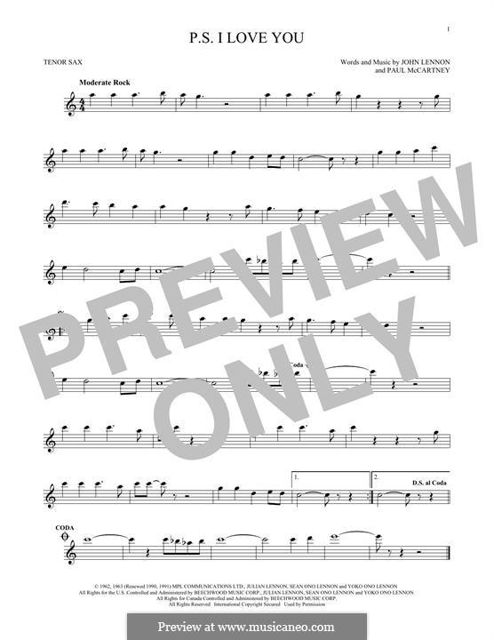 P.S. I Love You (The Beatles): For tenor saxophone by John Lennon, Paul McCartney