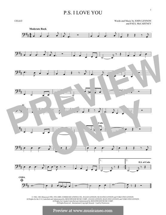 P.S. I Love You (The Beatles): For cello by John Lennon, Paul McCartney