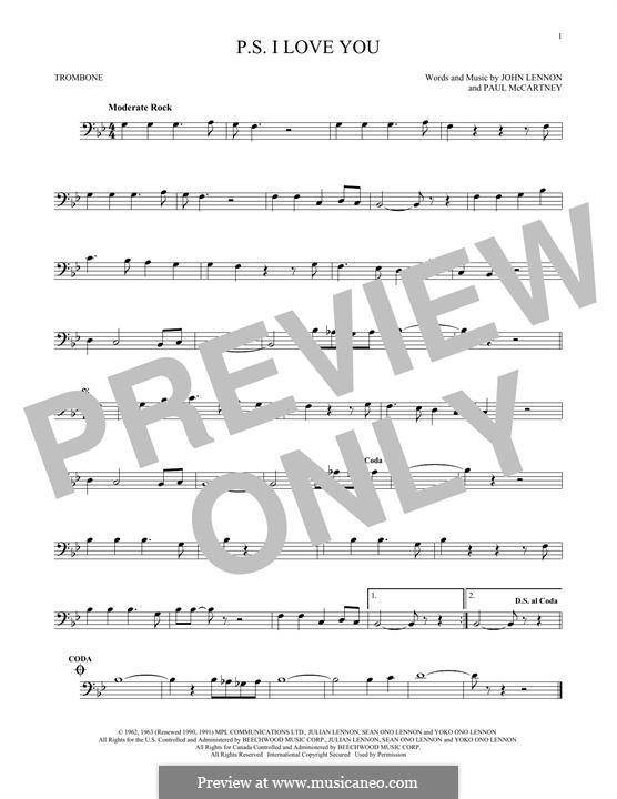 P.S. I Love You (The Beatles): For trombone by John Lennon, Paul McCartney