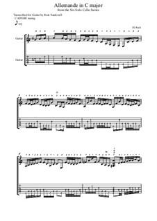 Suite for Cello No.3 in C Major, BWV 1009: Allemande. Arrangement for guitar by Johann Sebastian Bach