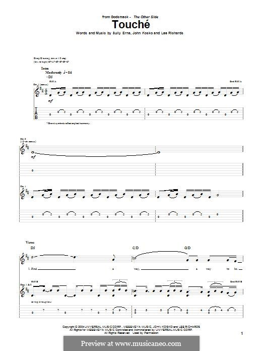 Touche (Godsmack): For guitar with tab by Sully Erna, John Kosko, Lee Richards