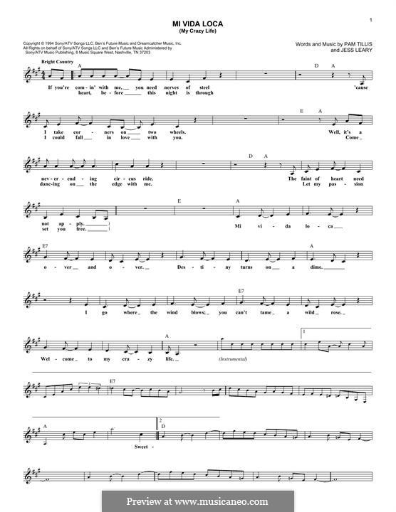 Mi Vida Loca (My Crazy Life): Melody line by Pam Tillis, Jess Leary