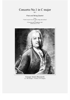 12 concerti e sinphonie, Op.1: Concerto No.1 in C major for flute and string quartet by Giuseppe Antonio Brescianello