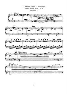 Cadenzas: To movements I, III by Ludwig van Beethoven