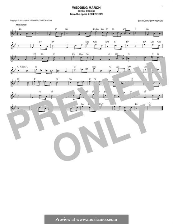 Bridal Chorus: Melody line by Richard Wagner