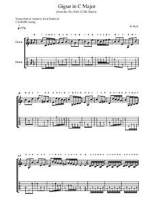 Suite for Cello No.3 in C Major, BWV 1009: Gigue. Arrangement for guitar by Johann Sebastian Bach