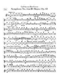 Symphony No.4, Op.60: Flute part by Ludwig van Beethoven