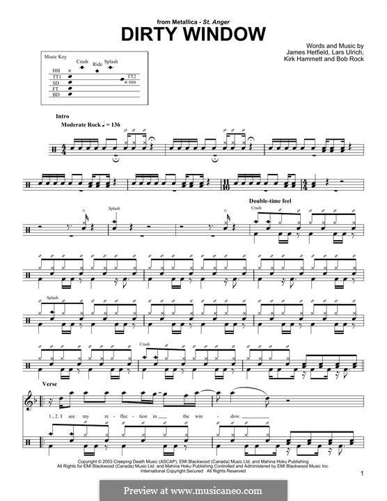 Dirty Window (Metallica): Drum set by Bob Rock, James Hetfield, Kirk Hammett, Lars Ulrich