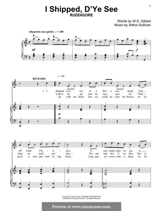 I Shipped, D'ye See: For piano by Arthur Seymour Sullivan