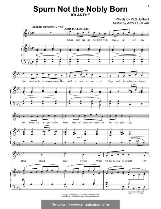 Spurn not the Nobly Born: For piano by Arthur Seymour Sullivan
