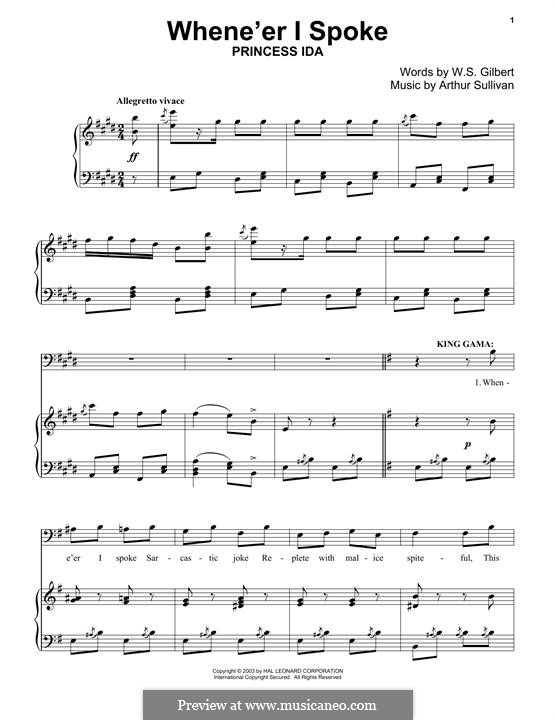When E'er I Spoke: For piano by Arthur Seymour Sullivan