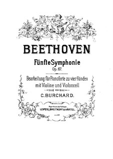 Complete Symphony: Version for piano four hands with violin and cello – piano part by Ludwig van Beethoven