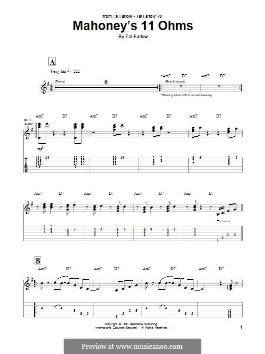 Mahoney's 11 Ohms: For guitar with tab by Tal Farlow