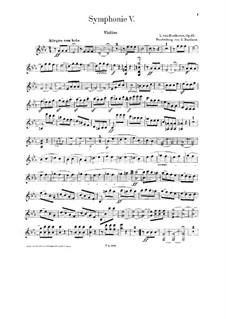 Complete Symphony: Version for piano four hands with violin and cello – strings parts by Ludwig van Beethoven