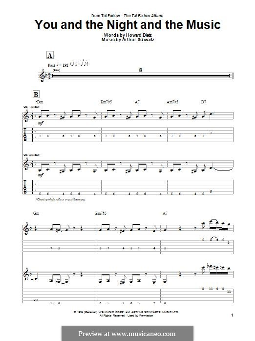You and the Night and the Music: For guitar with tab by Arthur Schwartz