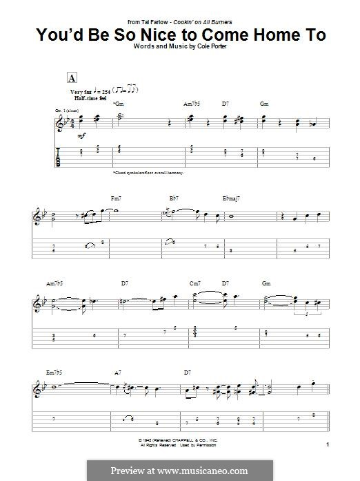 You'd Be So Nice to Come Home to: For guitar with tab by Cole Porter