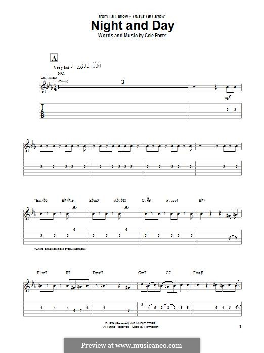 Night and Day (Frank Sinatra): For guitar with tab by Cole Porter