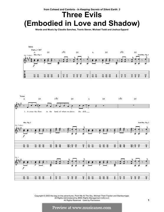 Three Evils / Embodied in Love and Shadow (Coheed and Cambria): For guitar with tab by Claudio Sanchez, Joshua Eppard, Michael Todd, Travis Stever
