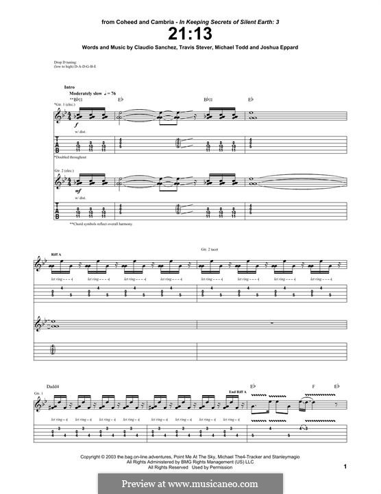 21:13 (Coheed and Cambria): For guitar with tab by Claudio Sanchez, Joshua Eppard, Michael Todd, Travis Stever