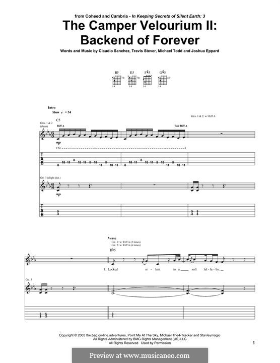 The Camper Velourium II: Backend of Forever (Coheed and Cambria): For guitar with tab by Claudio Sanchez, Joshua Eppard, Michael Todd, Travis Stever