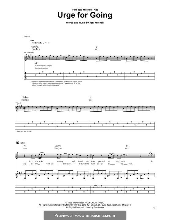 Urge for Going (Travis): For guitar with tab by Joni Mitchell