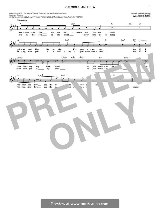 Precious and Few (Climax): Lyrics and chords by Walter D. Nims